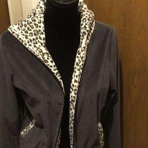 Midnight Velvet zip up hooded jacket.